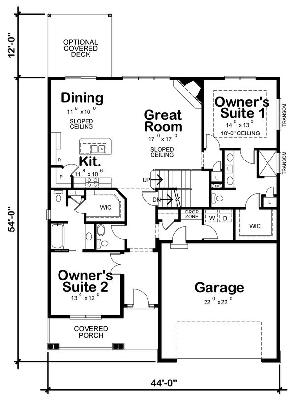 Dream House Plan - Ranch Floor Plan - Main Floor Plan #20-2314