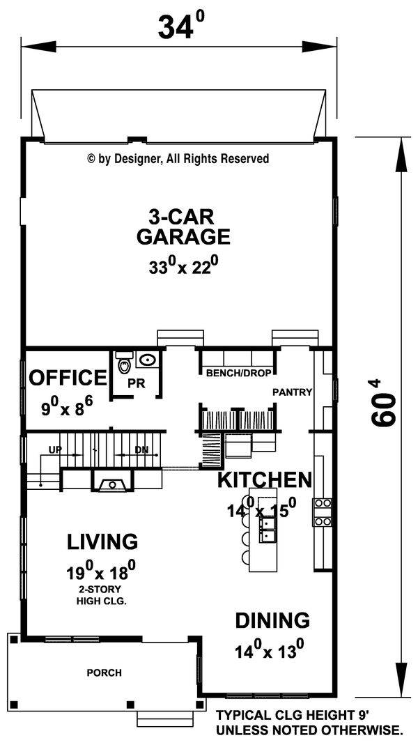 Architectural House Design - Contemporary Floor Plan - Main Floor Plan #20-2205