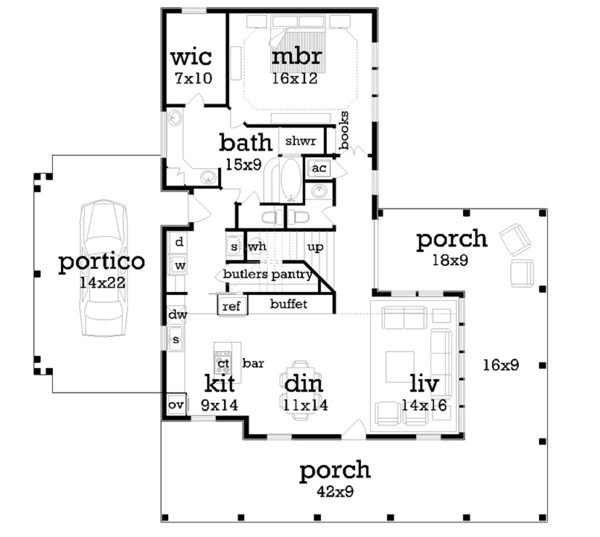 Traditional Floor Plan - Main Floor Plan Plan #45-569