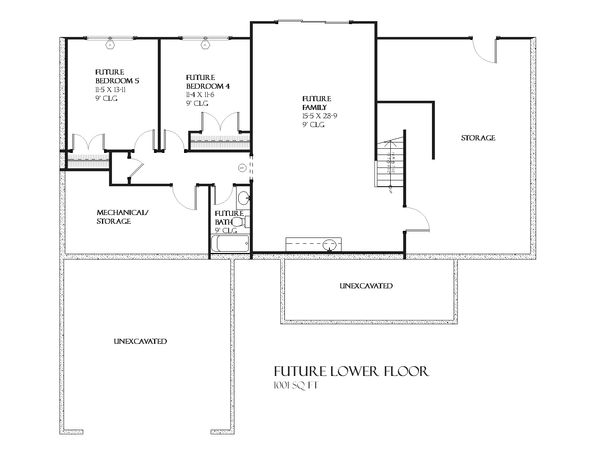 Ranch Floor Plan - Lower Floor Plan Plan #901-64