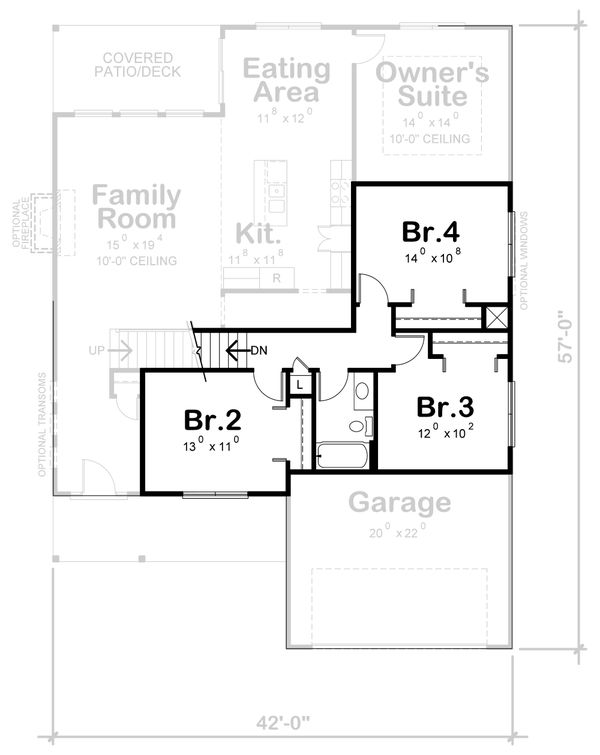 Traditional Floor Plan - Upper Floor Plan Plan #20-2394