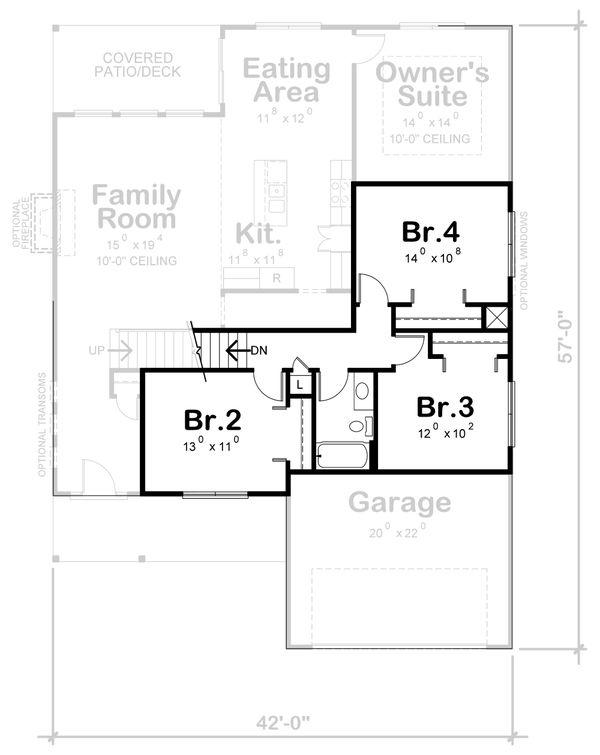 Architectural House Design - Traditional Floor Plan - Upper Floor Plan #20-2394