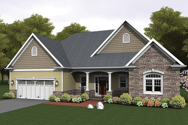 Architectural House Design - Ranch Exterior - Front Elevation Plan #1010-103