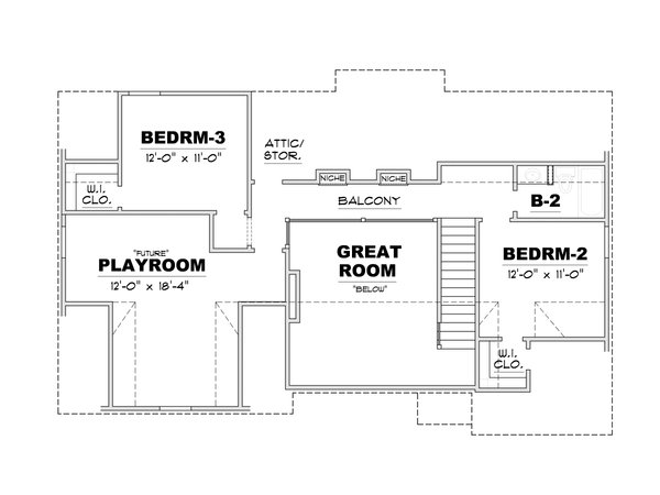 European Floor Plan - Upper Floor Plan Plan #34-239