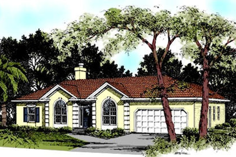 Mediterranean Exterior - Front Elevation Plan #56-158