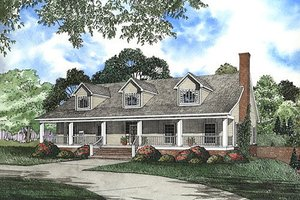 Country Exterior - Front Elevation Plan #17-2036