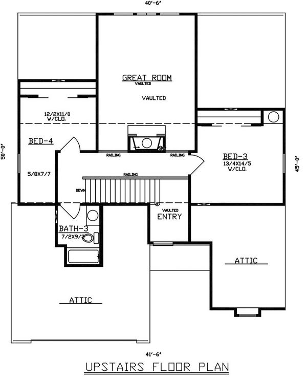 Dream House Plan - Traditional Floor Plan - Upper Floor Plan #405-330