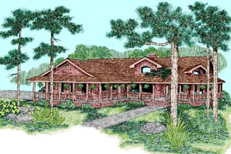Ranch Style House Plan - 6 Beds 4.5 Baths 3469 Sq/Ft Plan #60-460 Exterior - Front Elevation