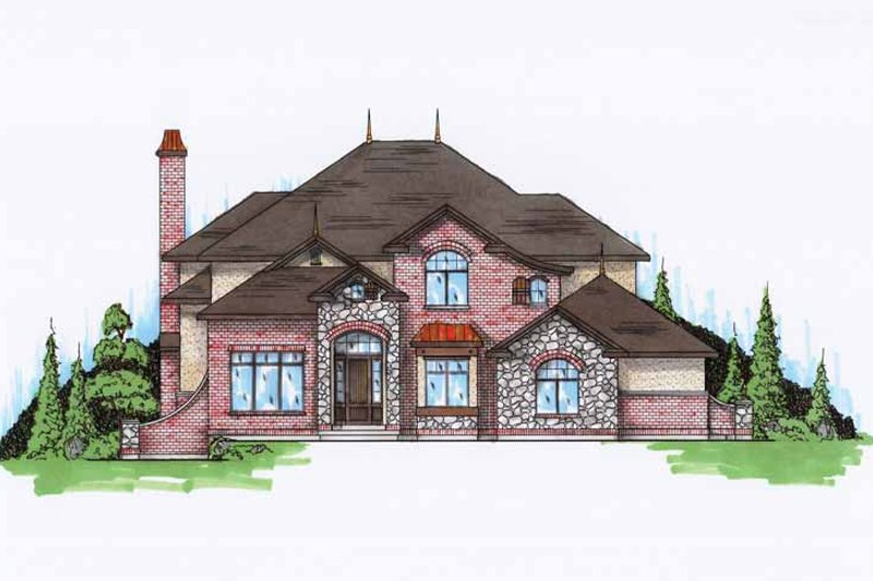 European Exterior - Front Elevation Plan #945-75