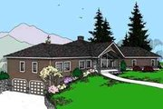 Modern Style House Plan - 3 Beds 2 Baths 2823 Sq/Ft Plan #60-621 Exterior - Front Elevation