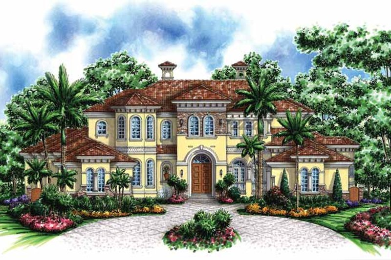 Mediterranean Exterior - Front Elevation Plan #1017-46
