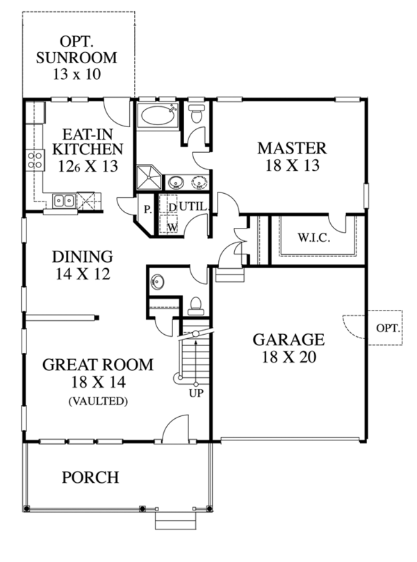 Traditional Floor Plan - Main Floor Plan Plan #1053-41