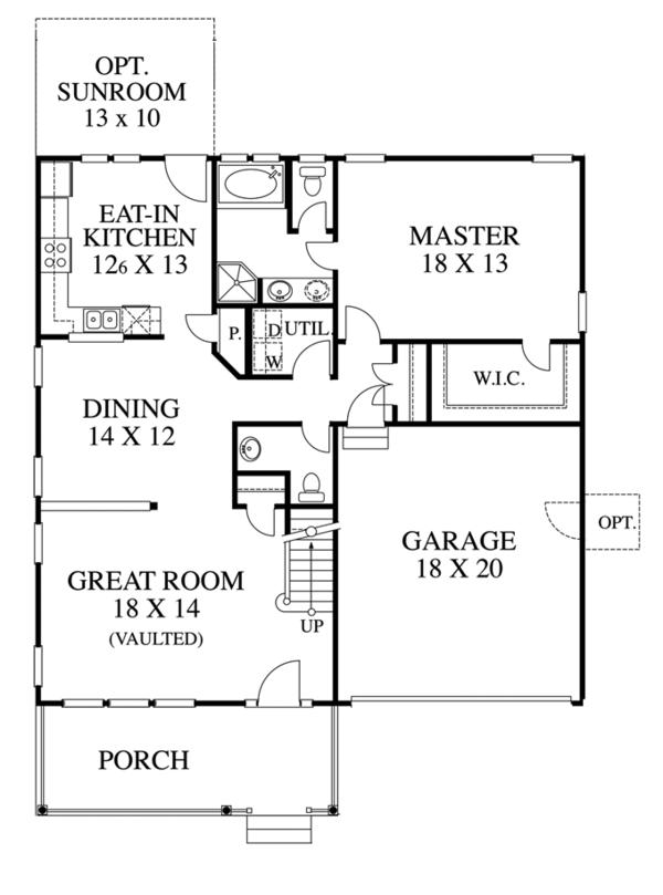 Architectural House Design - Traditional Floor Plan - Main Floor Plan #1053-41