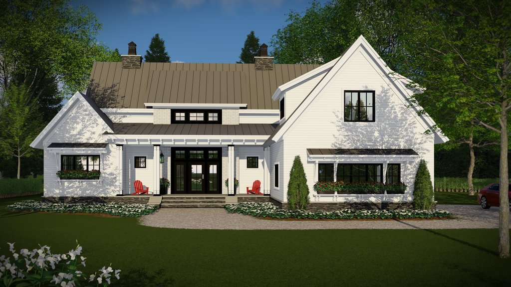 Front Elevation Of Farm Houses : Farmhouse style house plan beds baths sq ft