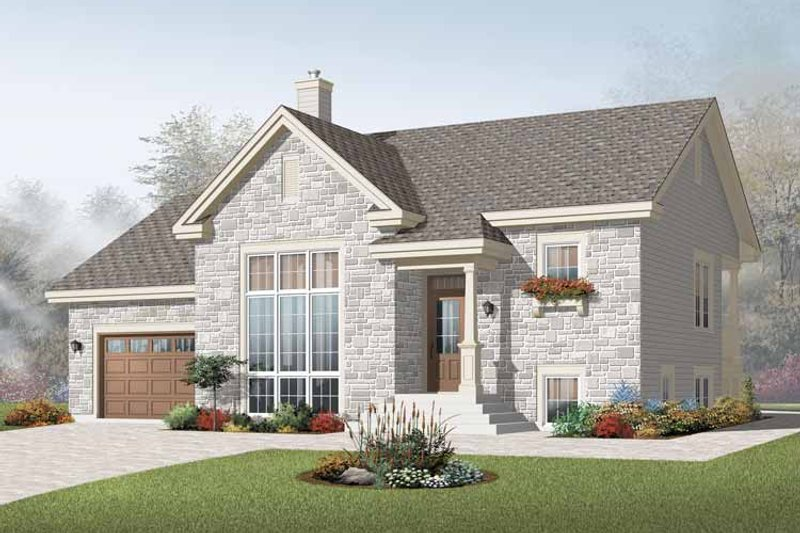 Modern Style House Plan - 3 Beds 2.5 Baths 1716 Sq/Ft Plan #23-2383 Exterior - Front Elevation