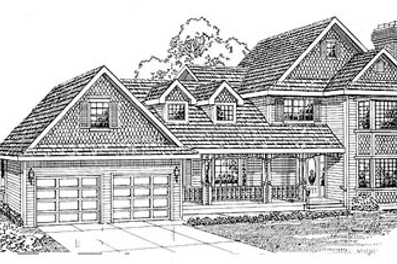Traditional Style House Plan - 3 Beds 3 Baths 2030 Sq/Ft Plan #47-270 Exterior - Front Elevation