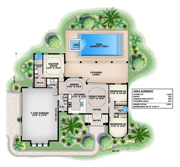 Mediterranean Floor Plan - Main Floor Plan Plan #27-500
