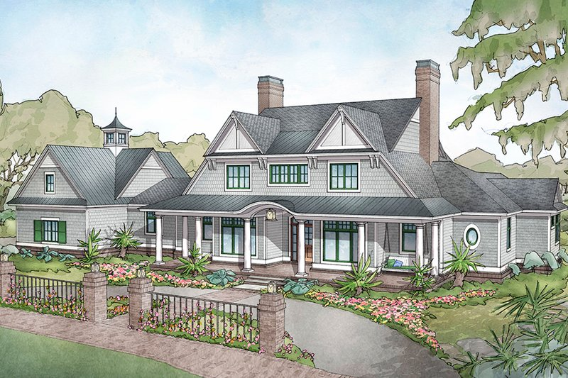 Farmhouse Style House Plan - 4 Beds 4.5 Baths 4728 Sq/Ft Plan #928-313 Exterior - Front Elevation