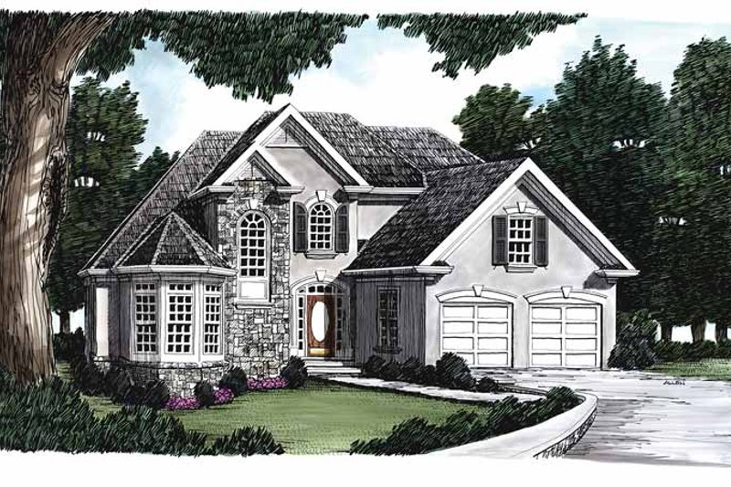 Country Exterior - Front Elevation Plan #927-93