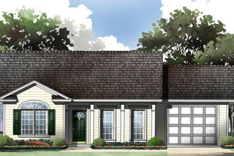 Ranch Style House Plan - 2 Beds 2 Baths 1001 Sq/Ft Plan #21-167 Exterior - Front Elevation