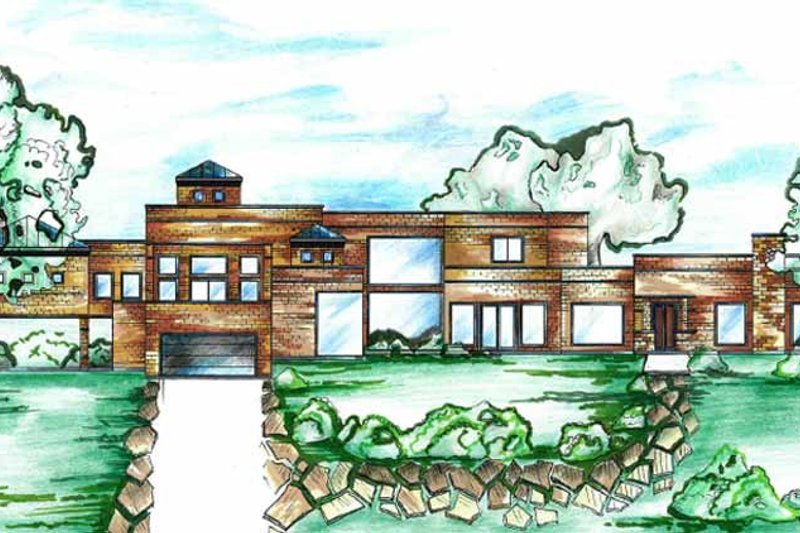 Contemporary Exterior - Front Elevation Plan #955-1 - Houseplans.com