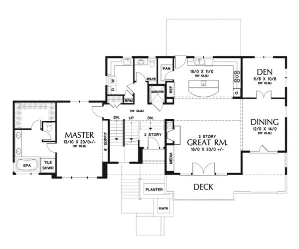 Craftsman Floor Plan - Main Floor Plan Plan #48-913