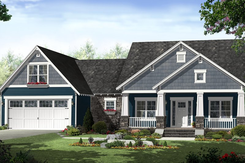 Country Style House Plan - 3 Beds 2 Baths 1637 Sq/Ft Plan #21-459 Exterior - Front Elevation