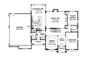 Colonial Style House Plan - 4 Beds 3.5 Baths 3669 Sq/Ft Plan #1010-175 Floor Plan - Main Floor Plan