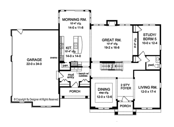 Colonial Floor Plan - Main Floor Plan Plan #1010-175