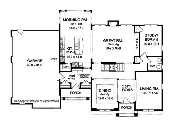 House Plan Design - Colonial Floor Plan - Main Floor Plan #1010-175