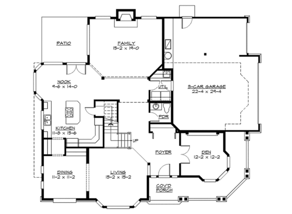 Craftsman Floor Plan - Main Floor Plan Plan #132-244