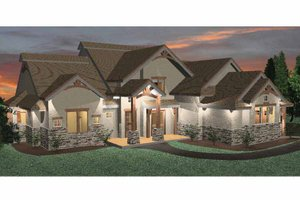 Architectural House Design - Prairie Exterior - Front Elevation Plan #937-18