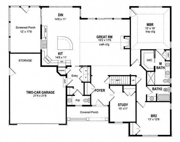Ranch Floor Plan - Main Floor Plan Plan #316-286