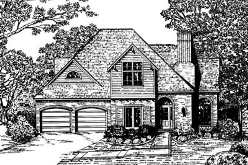 European Style House Plan - 3 Beds 3 Baths 1858 Sq/Ft Plan #20-258 Exterior - Front Elevation