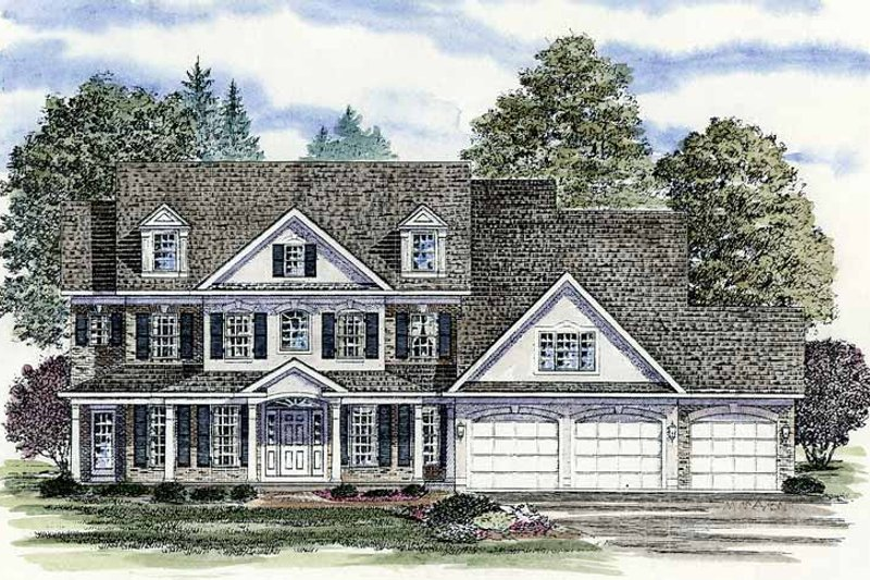 Architectural House Design - Colonial Exterior - Front Elevation Plan #316-201