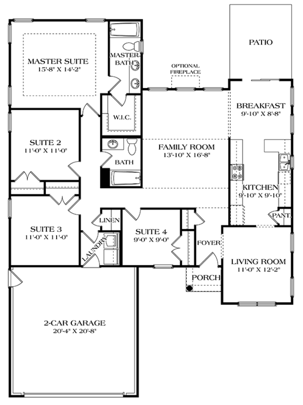 Colonial Floor Plan - Main Floor Plan Plan #453-627