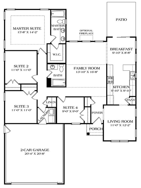 Colonial Floor Plan - Main Floor Plan Plan #453-627