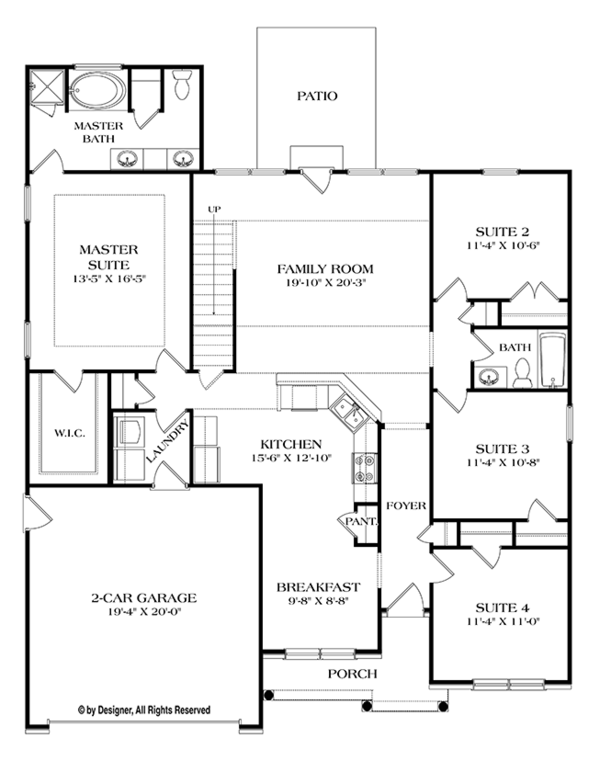 House Plan Design - Ranch Floor Plan - Main Floor Plan #453-631