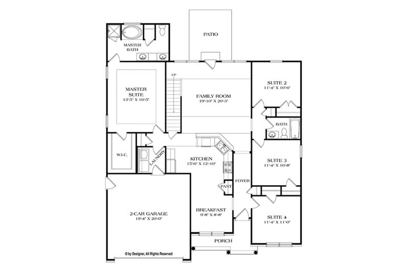 Ranch Floor Plan - Main Floor Plan Plan #453-631