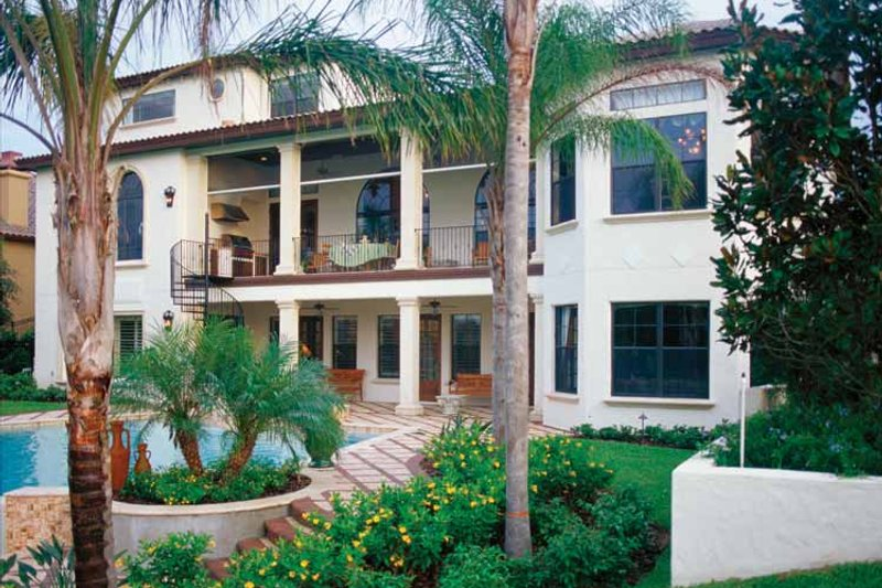 Mediterranean Exterior - Rear Elevation Plan #417-527 - Houseplans.com