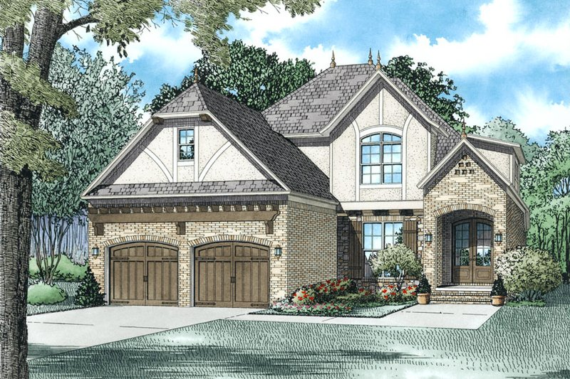 European Style House Plan - 4 Beds 3 Baths 2972 Sq/Ft Plan #17-2613 Exterior - Front Elevation