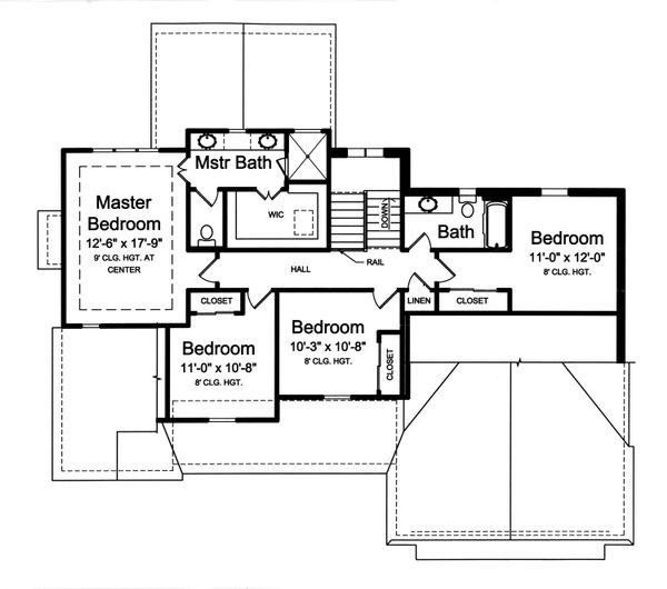 Traditional Floor Plan - Upper Floor Plan Plan #46-875
