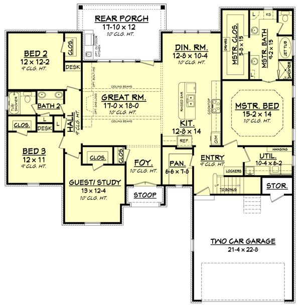 Dream House Plan - European Floor Plan - Main Floor Plan #430-121