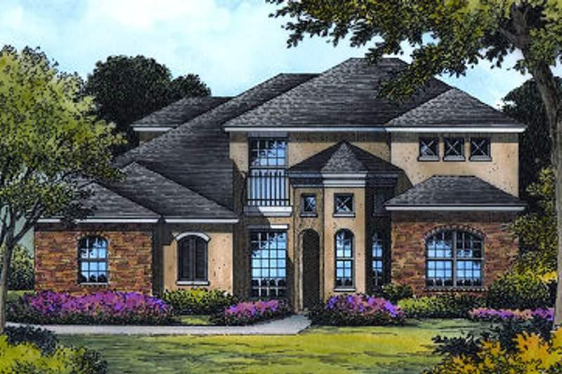 European Exterior - Front Elevation Plan #417-288 - Houseplans.com