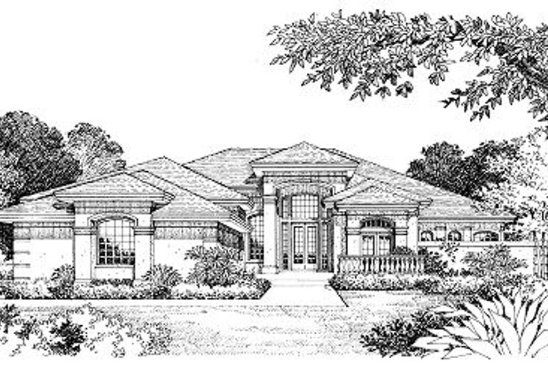 European Style House Plan - 4 Beds 3.5 Baths 3891 Sq/Ft Plan #417-413 Exterior - Front Elevation