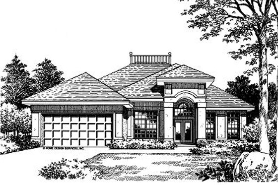 Mediterranean Exterior - Front Elevation Plan #417-126