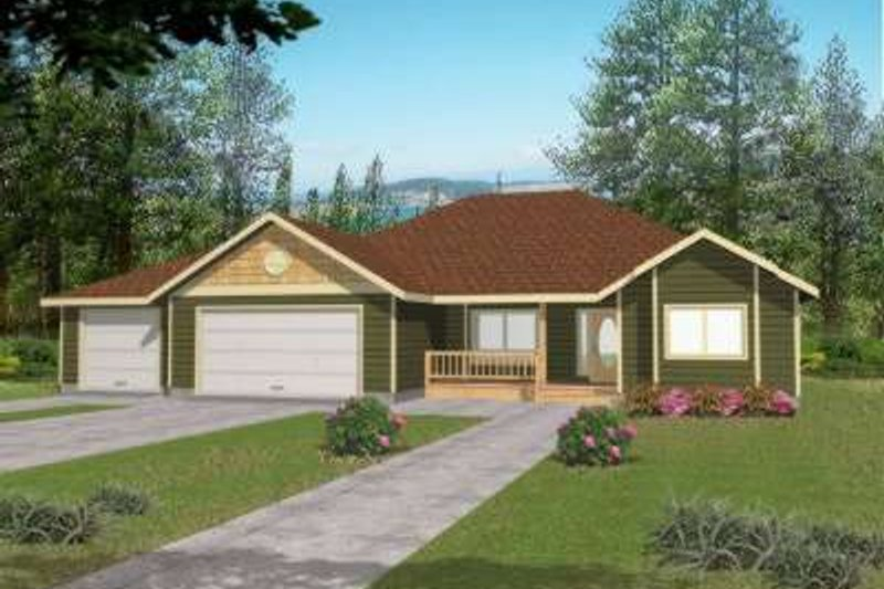 Ranch Exterior - Front Elevation Plan #117-463 - Houseplans.com