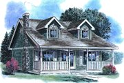 Country Style House Plan - 2 Beds 1 Baths 1007 Sq/Ft Plan #18-297 Exterior - Front Elevation