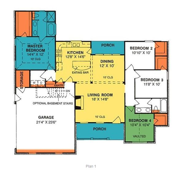Country Floor Plan - Main Floor Plan Plan #20-193