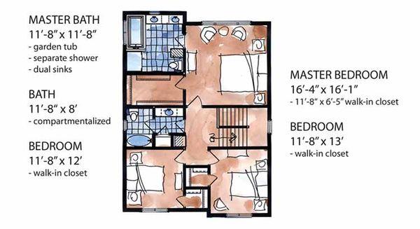 European Floor Plan - Upper Floor Plan Plan #320-994